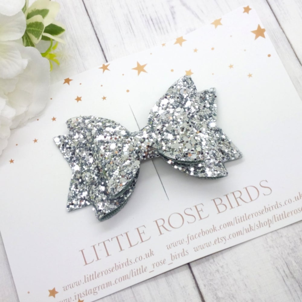 Image of Silver Glitter Bow - Choice of Headband or Clip