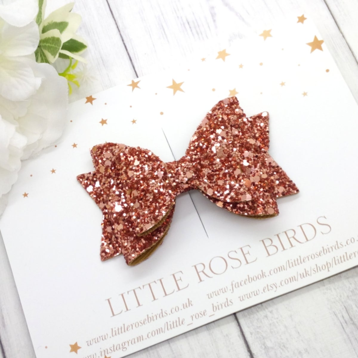 Image of Rose Gold Glitter Bow - Choice of Headband or Clip