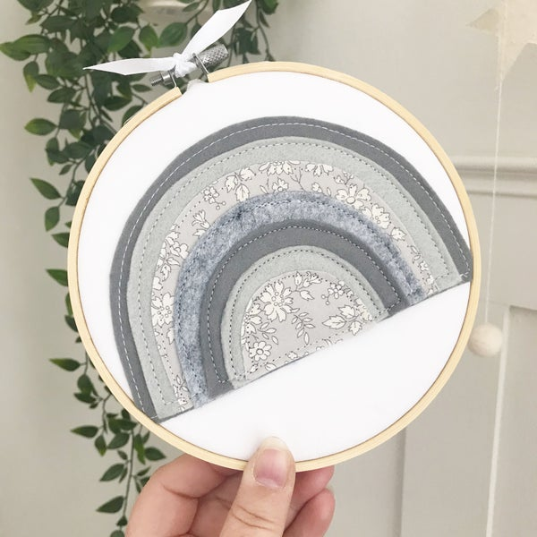 Image of Grey Rainbow Hoop Art