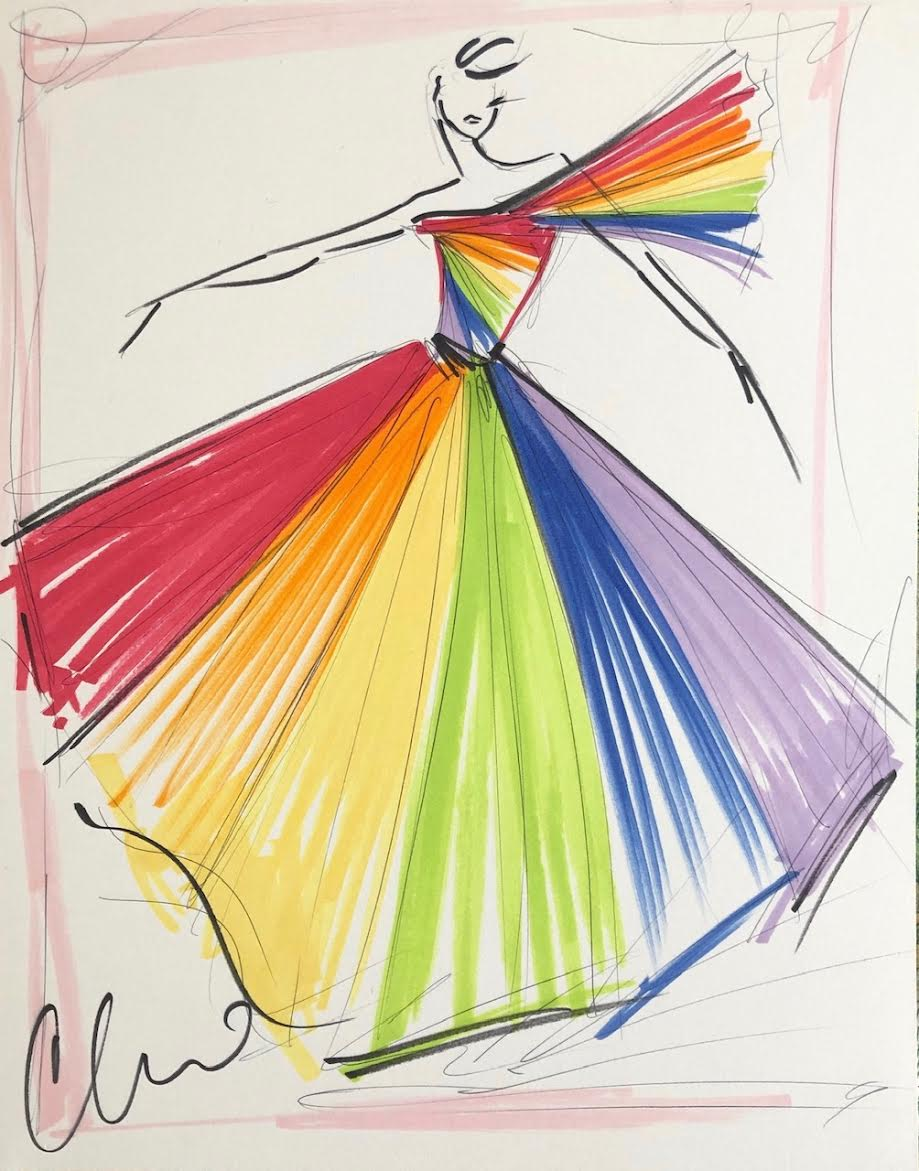 """Image of Special Edition """"Rainbow Pride Ball Gown"""" - Sketch Print"""