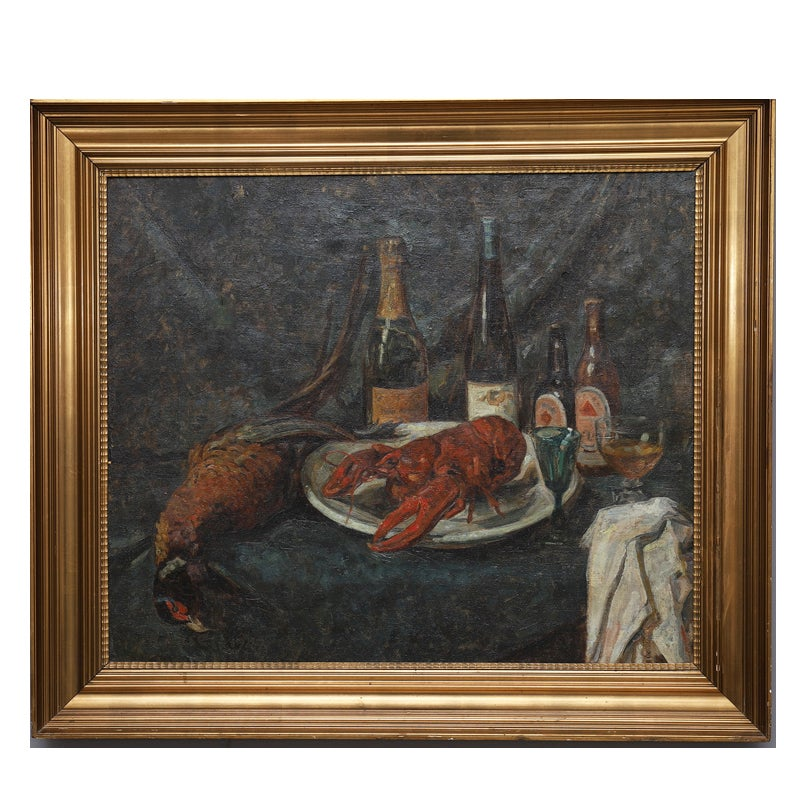 Image of Large, 1929, Painting, 'Champagne and Lobster,' HELGE NYSELL (1900 - 1963)
