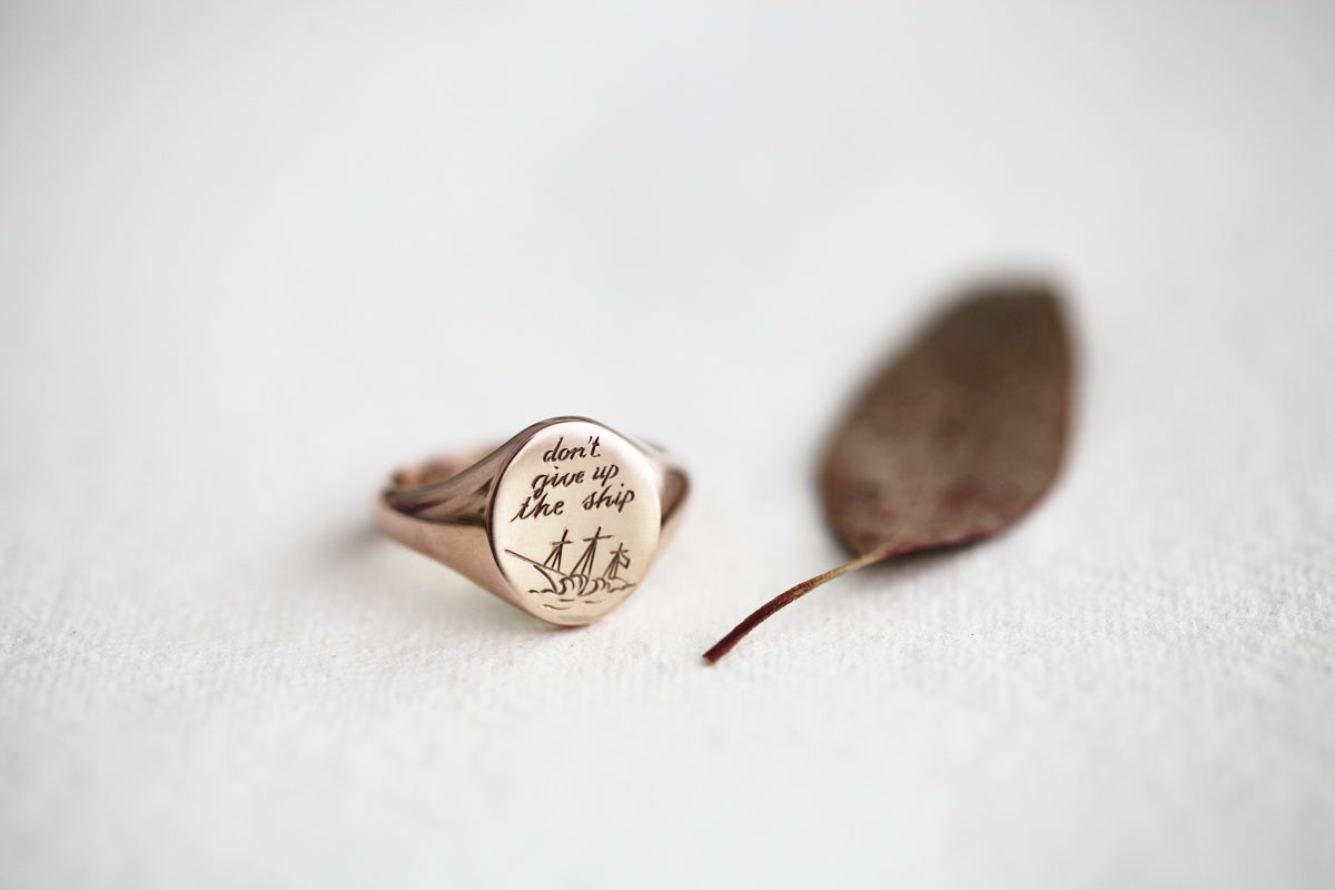 Image of Large 'Don't give up the ship' 9ct rose gold signet ring