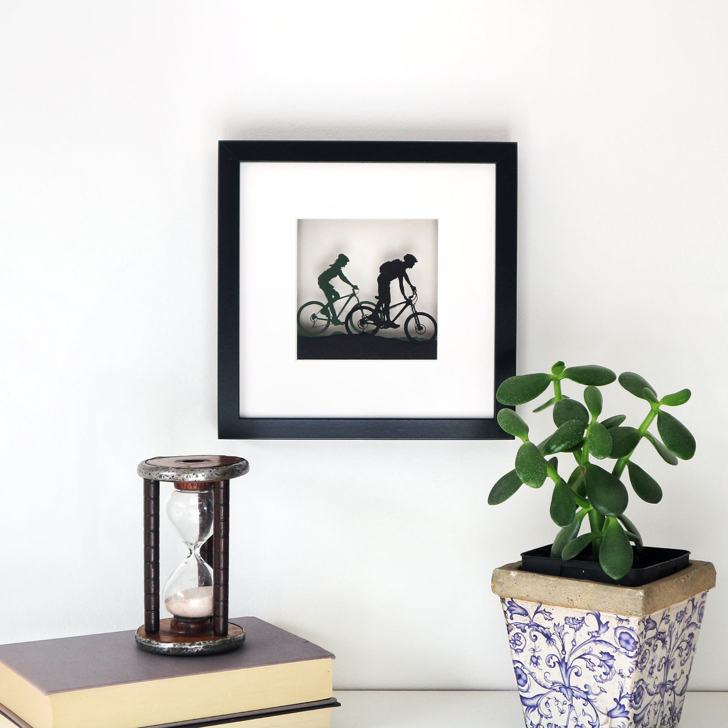 Image of Framed Couple Mountain Biking Papercut Picture