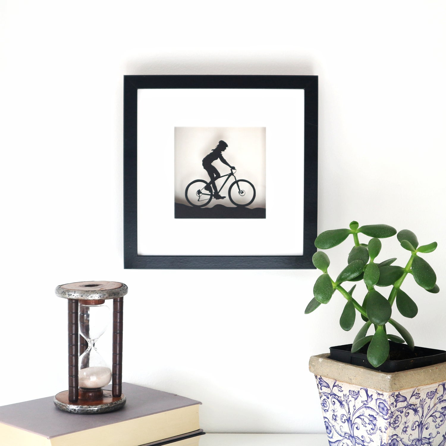 Image of Framed Female Mountain Biker Picture