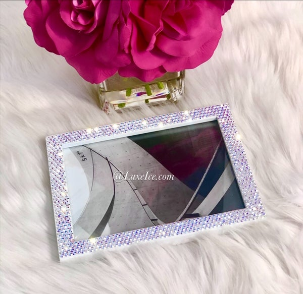 Image of Swarovski Bling Custom Picture Frame 5 x 7 made with SWAROVSKI® Xirius Rose-Cut Crystals.