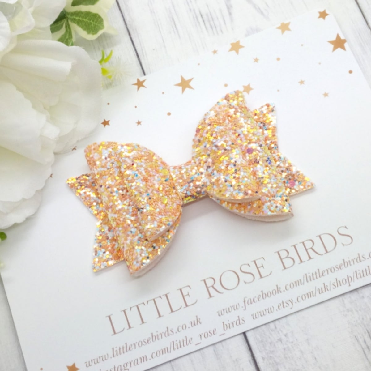 Image of Peach Glitter Hair Bow - Choice of Headband or Clip