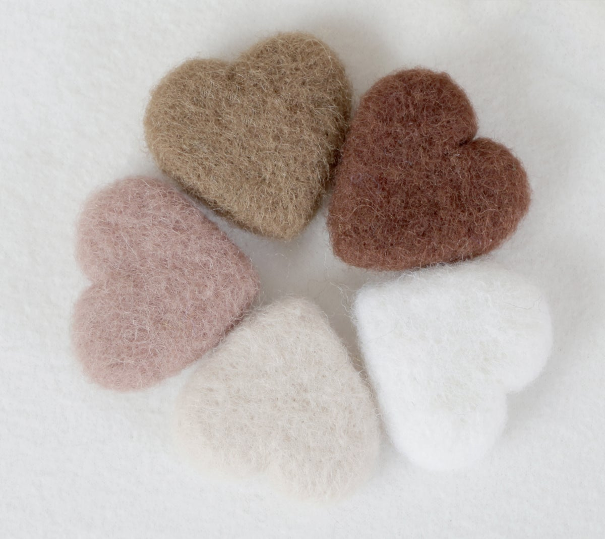 Felted Hearts - Neutral Shades (5)
