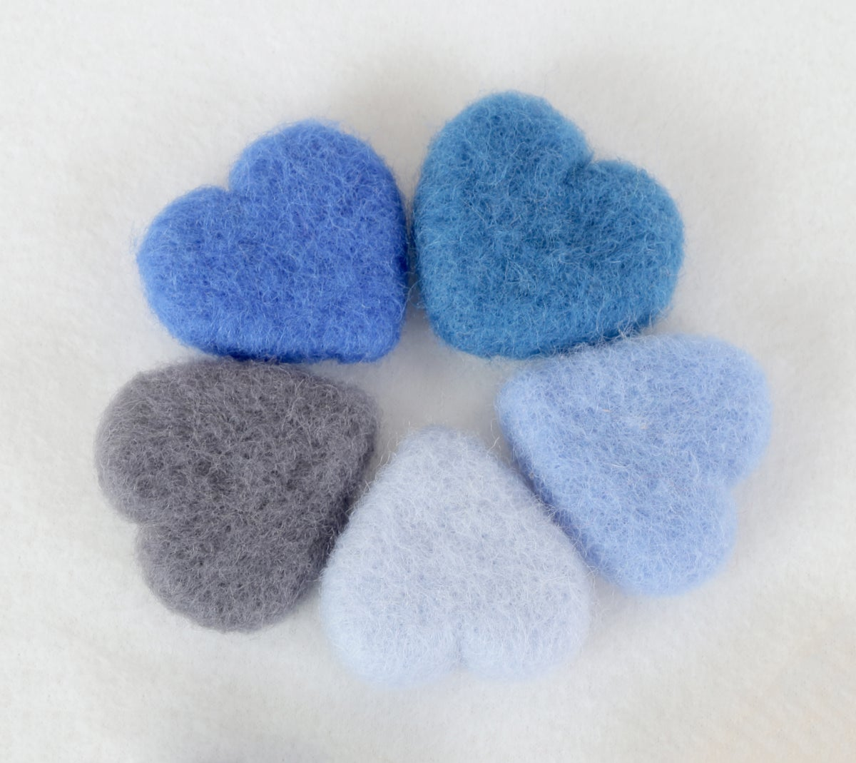 Felted Hearts - Blue shades (5)