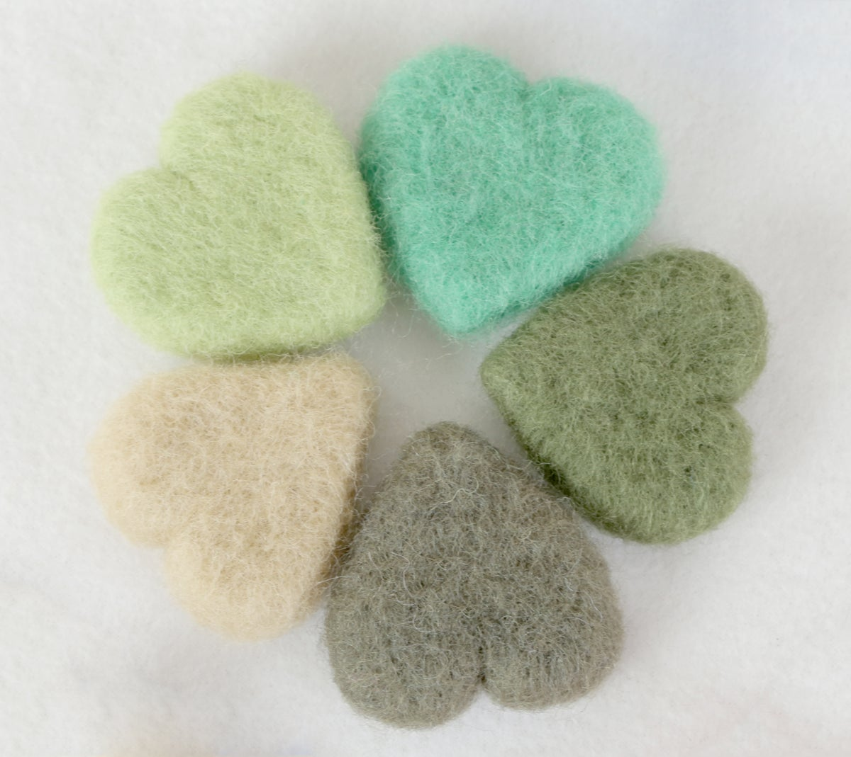 Felted Hearts - Green shades (5)