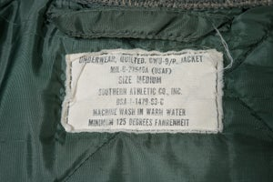 Image of Genuine 1963 US Air Force USAF Flyers CWU-9/P Quilted Liner Jacket - Med Early