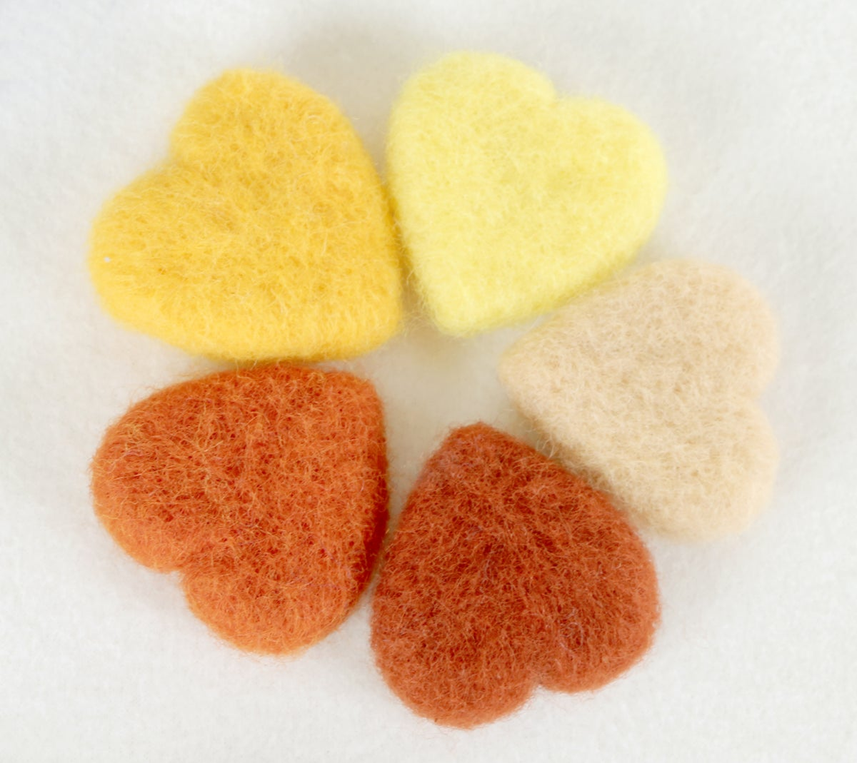 Felted Hearts - Warm colors (5)