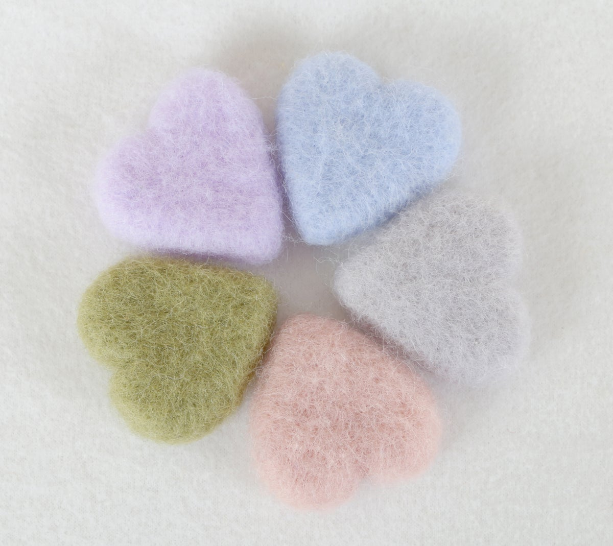 Felted Hearts - Pastel Colors