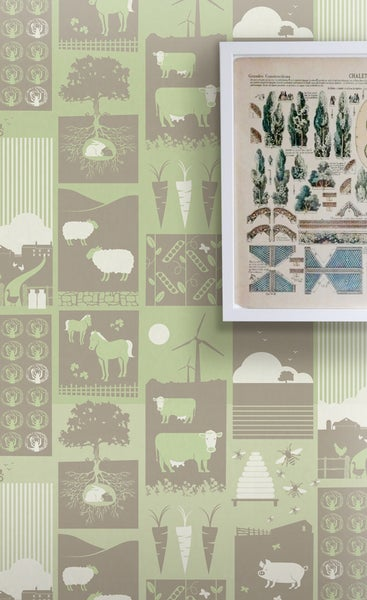Image of Moo! Wallpaper - Pear Green