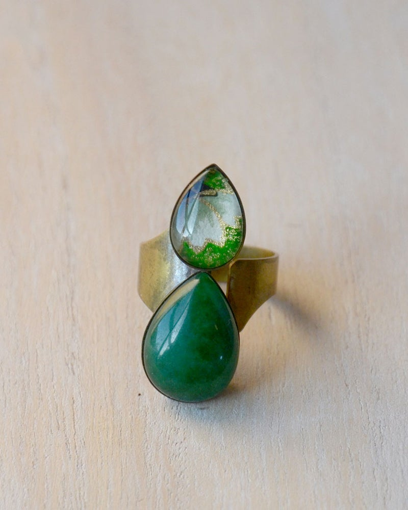 Image of double teardrop ring - green jade