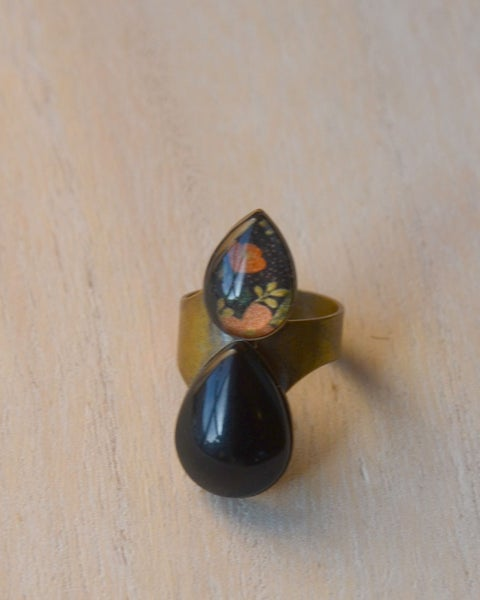 Image of double teardrop ring - black and floral