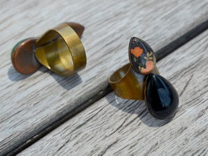 Image of double teardrop ring - blue lapiz and midnight blue floral