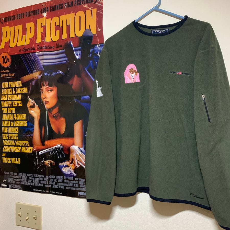 Image of LARGE - VINTAGE RALPH LAUREN POLO FOREST GREEN FLEECE CAM'RON SWEATER 1 OF 1
