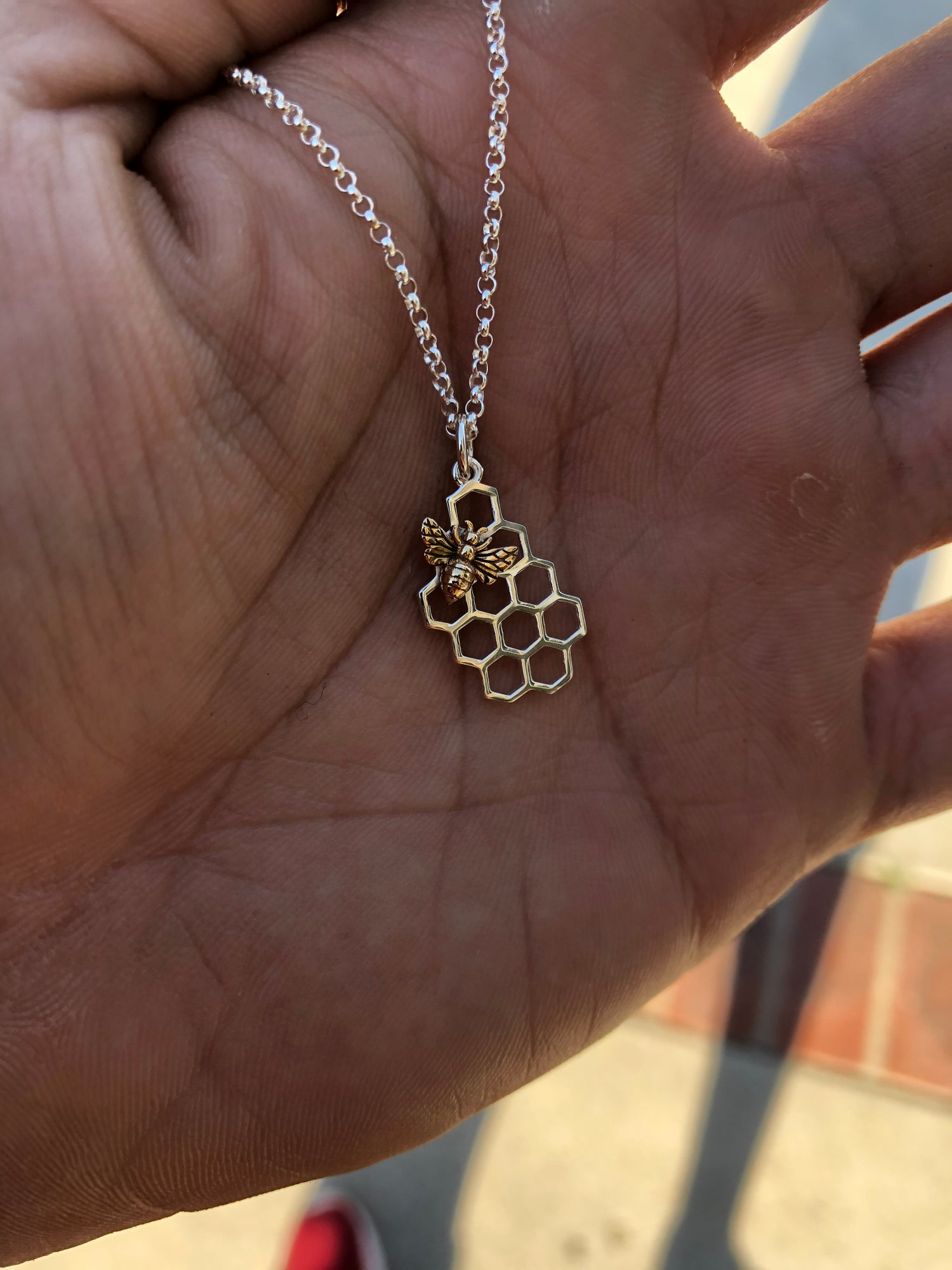 Image of Bee on honey comb pendent