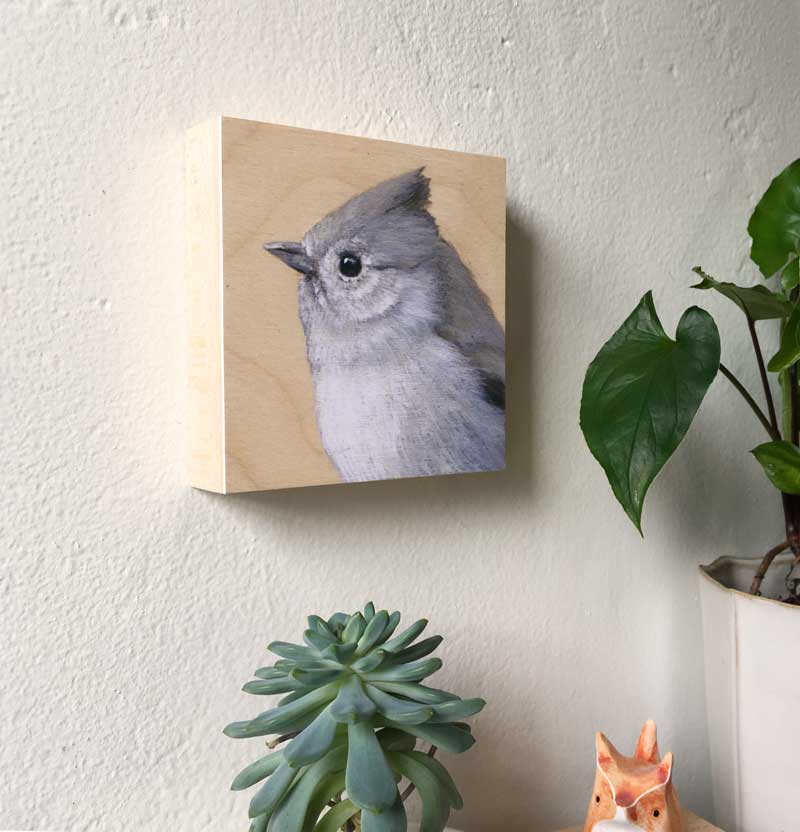 Image of Oak Titmouse Bird Print on Wood by Maggie Hurley