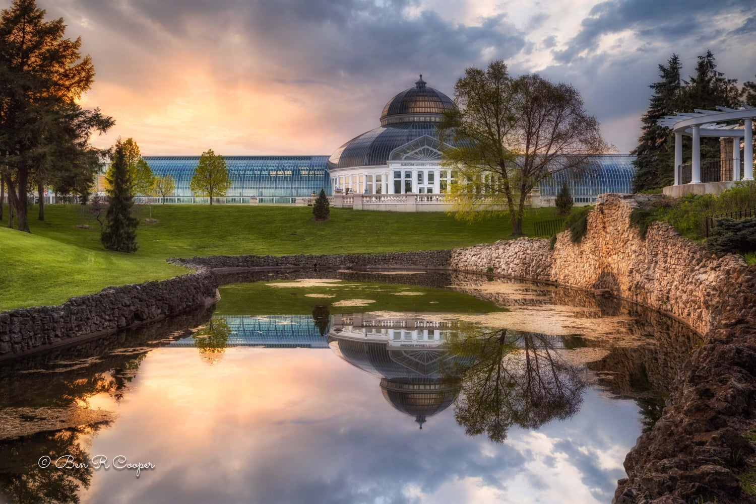 Sunset at the Marjorie McNeely Conservatory