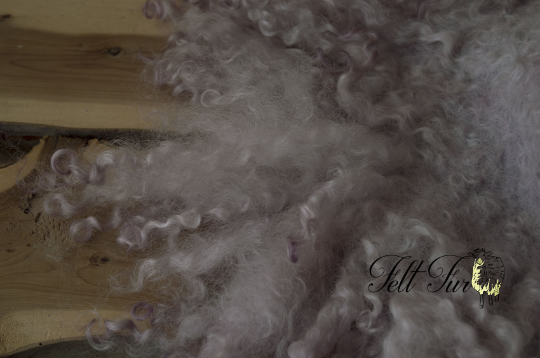 Image of Dusky Lilac Curly Fringe Felted Napkin (C172), Newborn Photography Wool Prop. Size C. Ready to Ship.