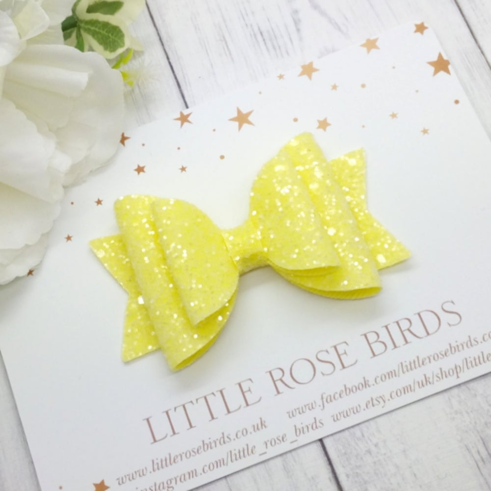Image of Yellow Glitter Bow - Choice of Headband or Clip