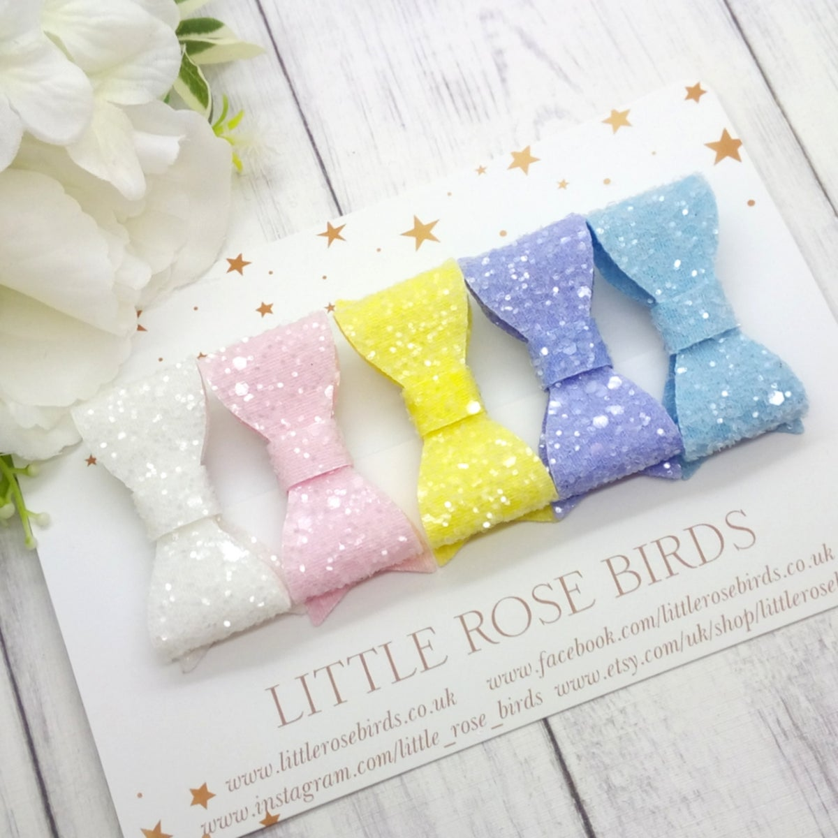 Image of SET OF 5 Pastel Sugar Glitter Bows