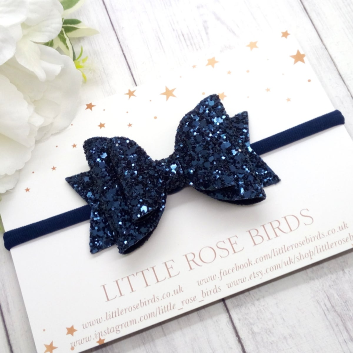 Image of Navy Blue Glitter Bow - Choice of Headband or Clip