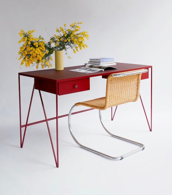 Image of Large Study Desk with Natural Linoleum Top & Drawers