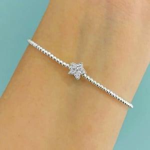 Image of Sterling Silver Diamanté Star Bead Bracelet