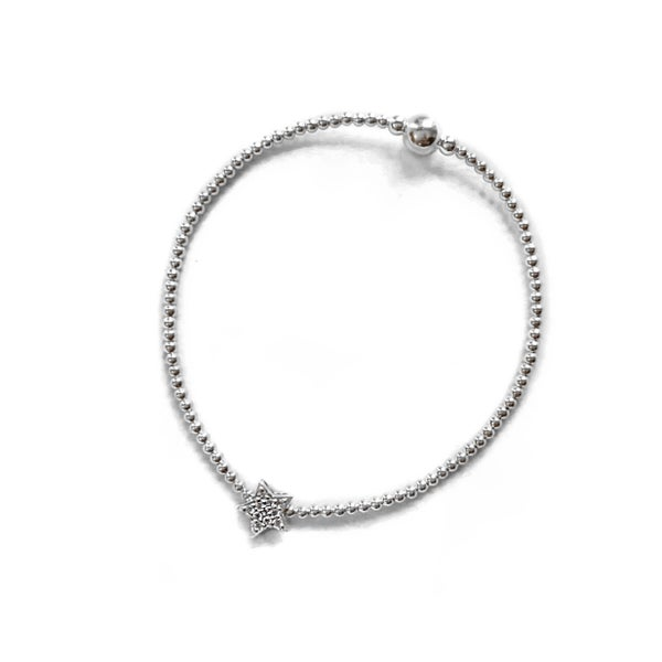 Image of Sterling Silver Diamanté Star Bead Bracelet