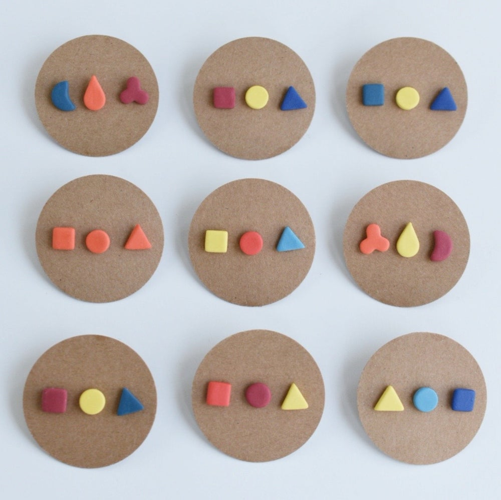Image of Trio of geometric stud earrings