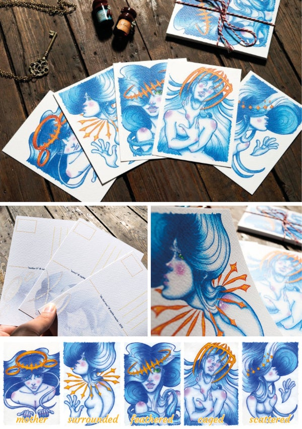 Image of Postcard watercolour prints set
