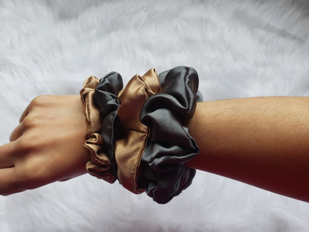 Image of silk scrunchies, silk hair ties