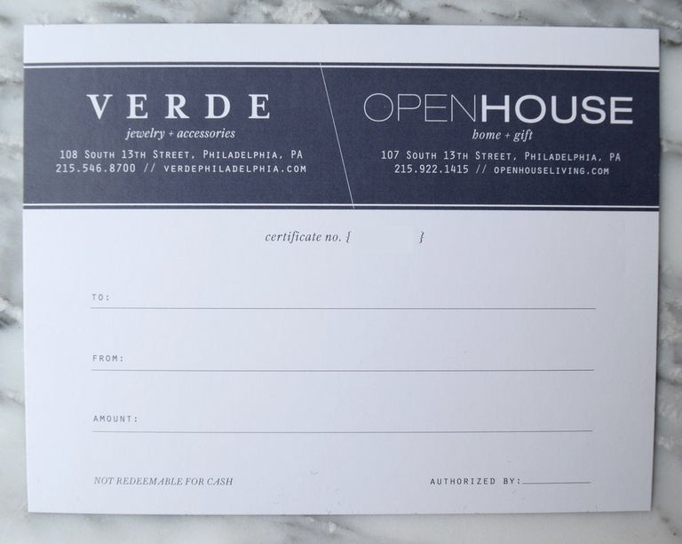 $75 Open House and Verde Gift Certificate