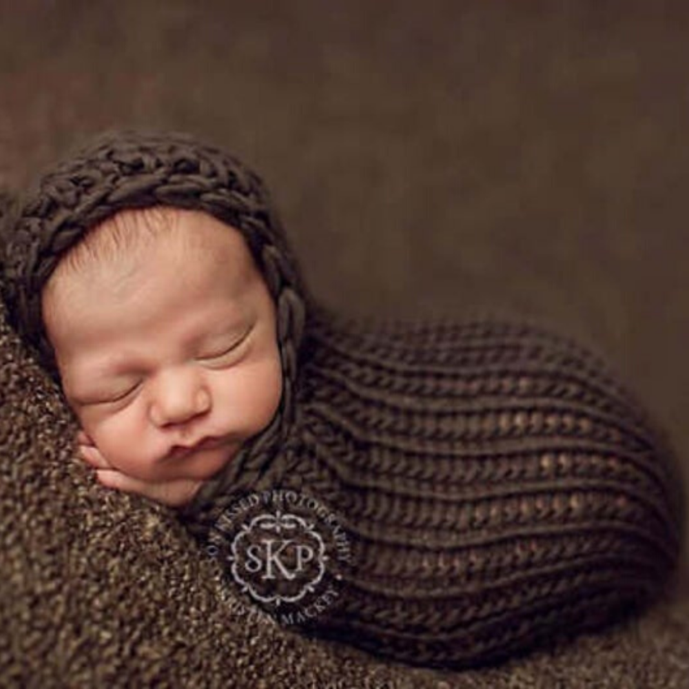 Image of Newborn Hooded Cocoon Knitting Pattern