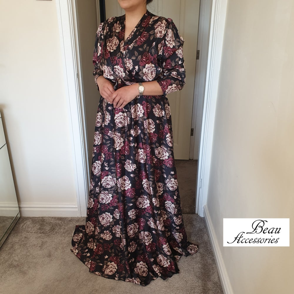 Image of Digital Print Floral Satin Maxi Dress in 2 colours