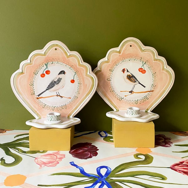 Image of Larger pair of ceramic Wall Sconces - Peach