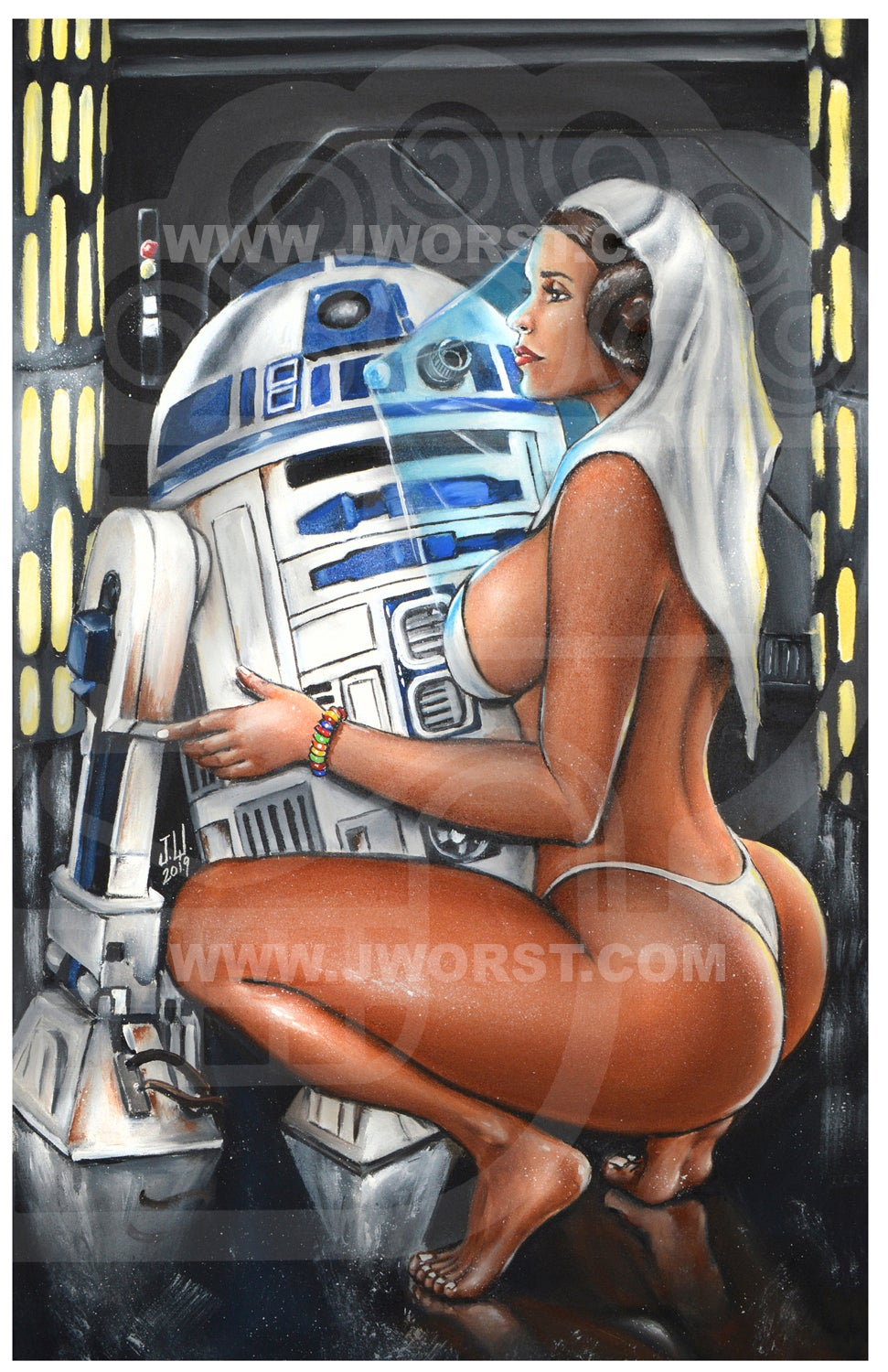 "Image of ""R2PIMP2"" Jeremy Worst Sexy Star Wars Poster Wall Art Canvas Princess Leia r2d2"