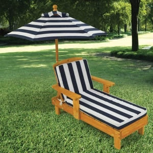 Image of OUTDOOR CHAISE WITH UMBRELLA