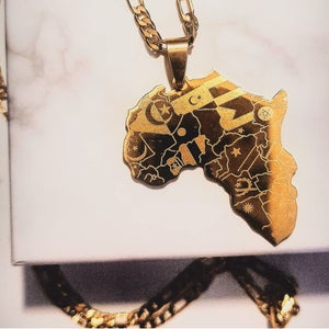 Image of AFRICAN FLAG GOLD PLATED NECKLACE