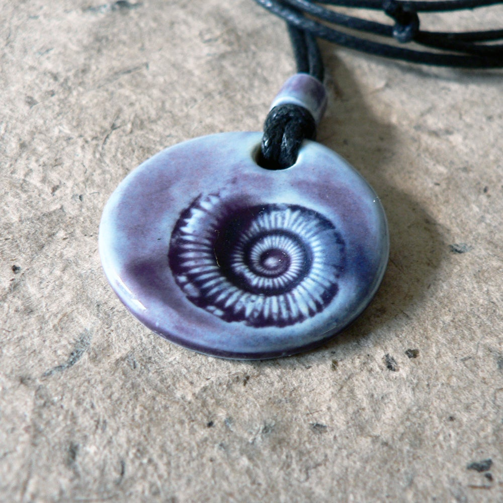 Ammonite Pendant - Purple, Blue Wash