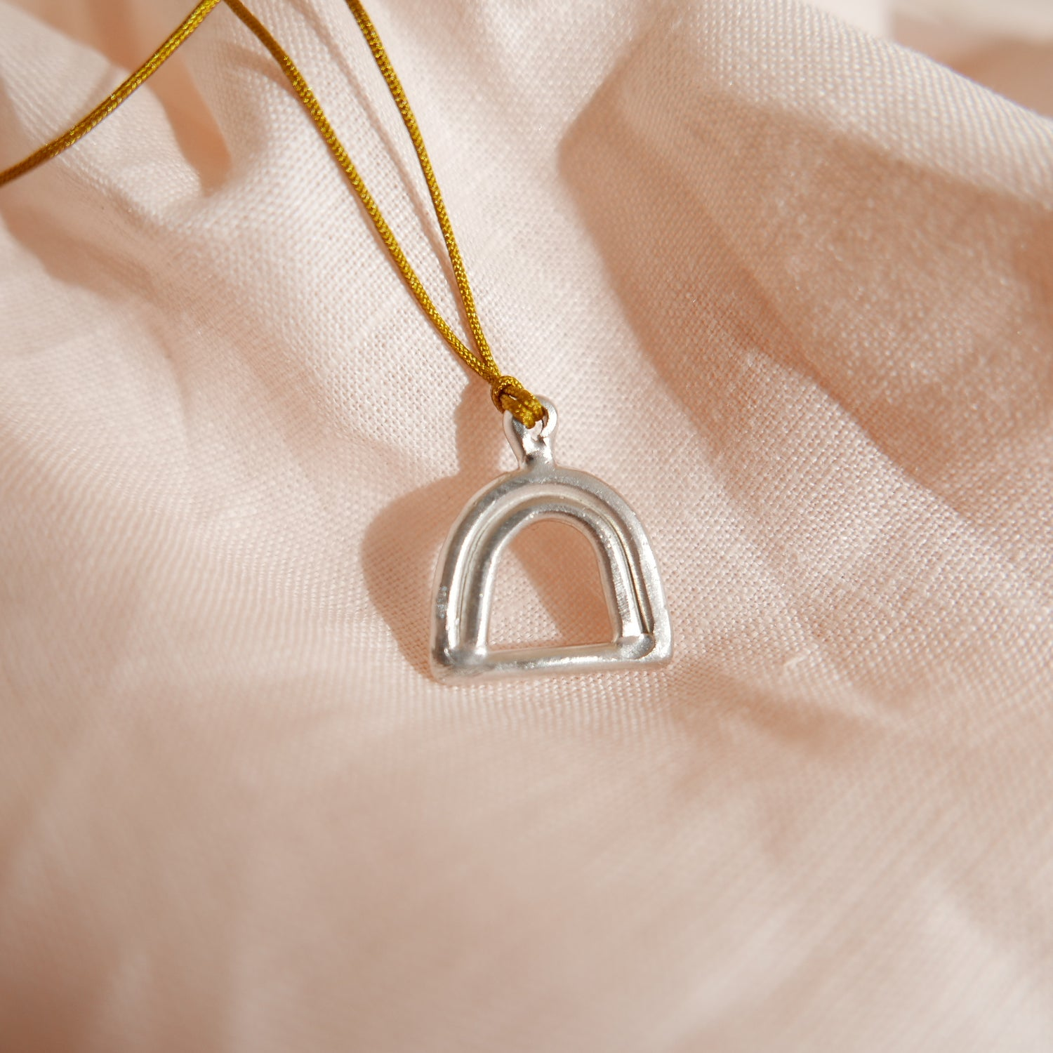 Image of Rainbow Charm Necklace - Silver + Mustard