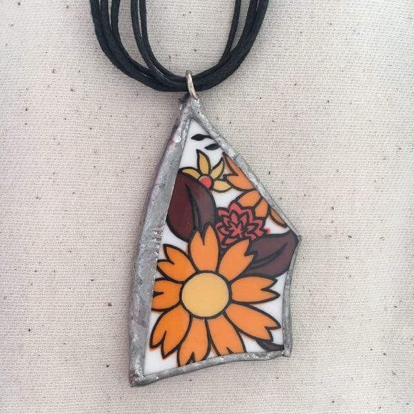 Image of Orange Retro Ceramic Necklace