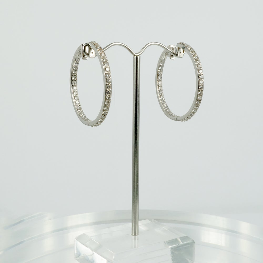 Image of PJ5619 - 18ct white gold diamond set hoop earrings