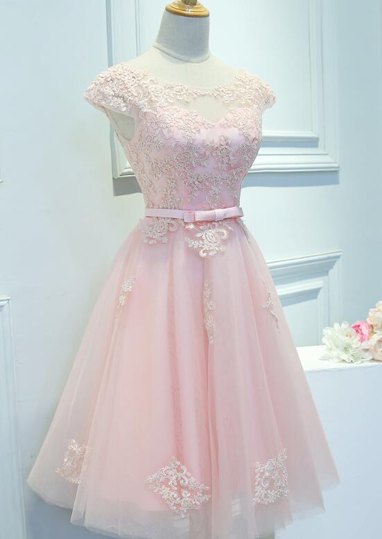 Fashion Tulle Cap Sleeves Party Dress, Knee Length Homecoming Dress