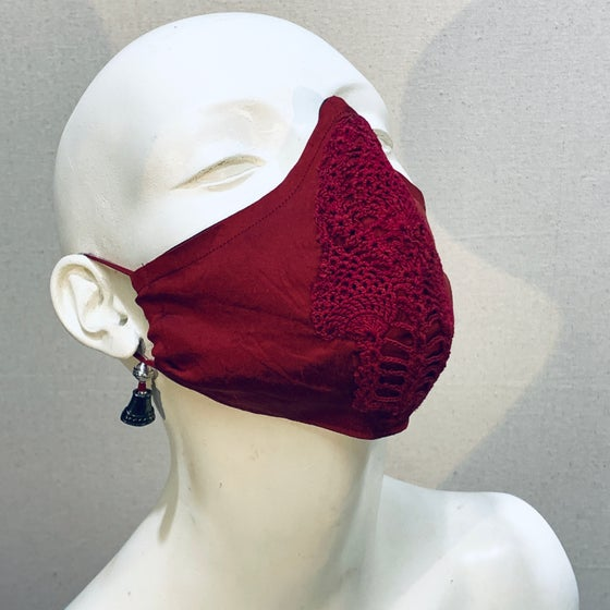 Image of Couture  Mask: Crimson Crochet (medium)