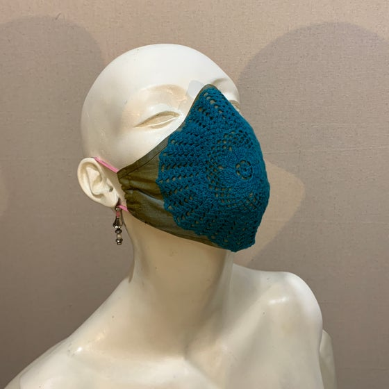 Image of Couture  Mask: Teal Crochet (medium)