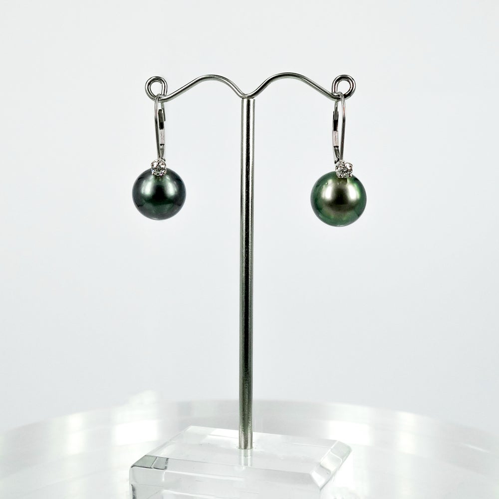 Image of CP1083 - 14ct white gold diamond and pearl drop earring