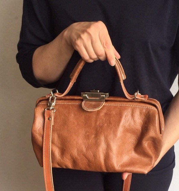 Image of Mini Leather Doctor Bag, Vintag Style Purse